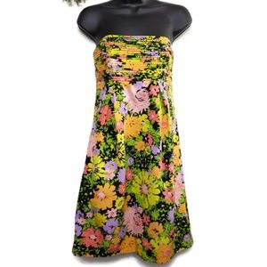 Shoshanna Dress 4 Floral Pleated Bodice Black Mult